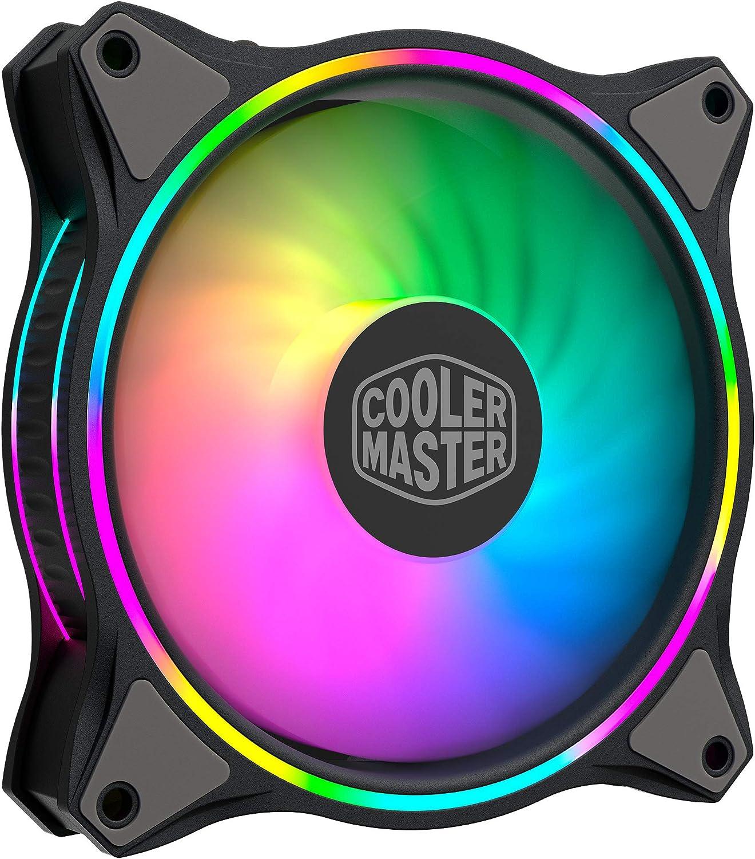 Cooler Master MasterFan MF120 Halo Duo-Ring Addresable RGB Lighting 120 mm Fan, Almohadillas de Goma absorbentes, 4 Pines 12 V PWM Static Pressure for Computer Case & Liquid (MF120 Halo)