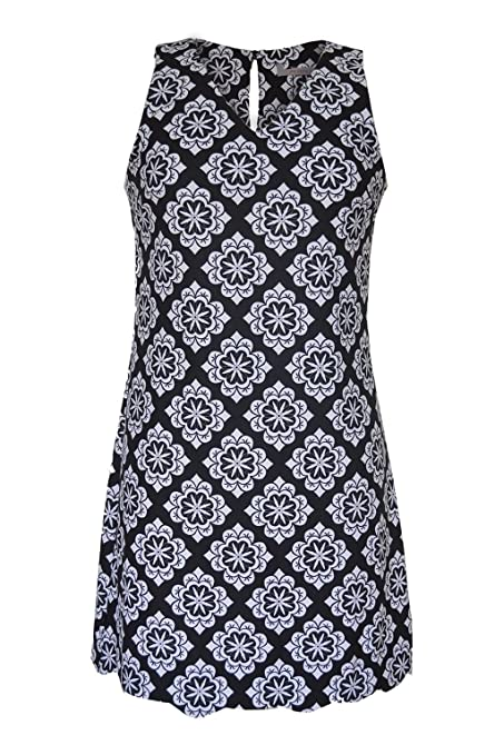 Dorothy Perkins Womens Black White Geo Print Sleeveless Shift Dress at Amazon Womens Clothing store: