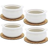 Premium Onion Soup Bowls - White Porcelain - Set of 4 with Cork Coasters