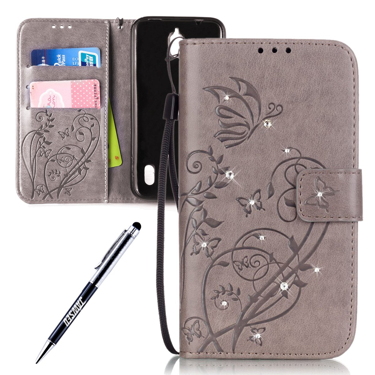 Huawei Y625 Custodia, Huawei Ascend Y625 Cover, Huawei Ascend Y 625 Custodia Pelle Portafoglio, JAWSEU [Shock-Absorption][Anti Scratch] Lusso 3D Goffratura Fiore Farfalla Wallet Leather Flip Cover Custodia per Huawei Y625 Protectiva Bumper Copertura con Mo