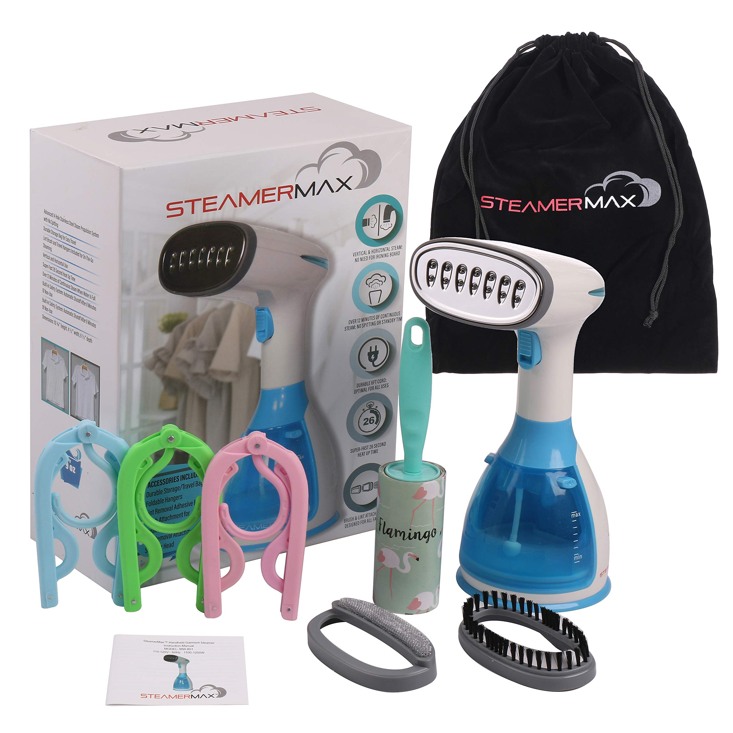 SteamerMax Handheld Garment Steamer for Clothes - Portable Yet Powerful Steam Removes Wrinkles from Garments with Ultra Fast Heating