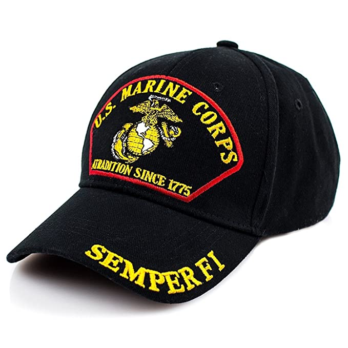 87aedcfb9f Exclusive Caps USMC Marine Corps Baseball Cap - Black at Amazon ...