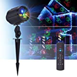 Laser Lights Christmas Projector Lights Motion Star Night Shower Outdoor Laser Show Holiday Lights RF Remote Waterproof 8 Patterns Green & Red Laser Blue LED Light for Party/Garden Decorations