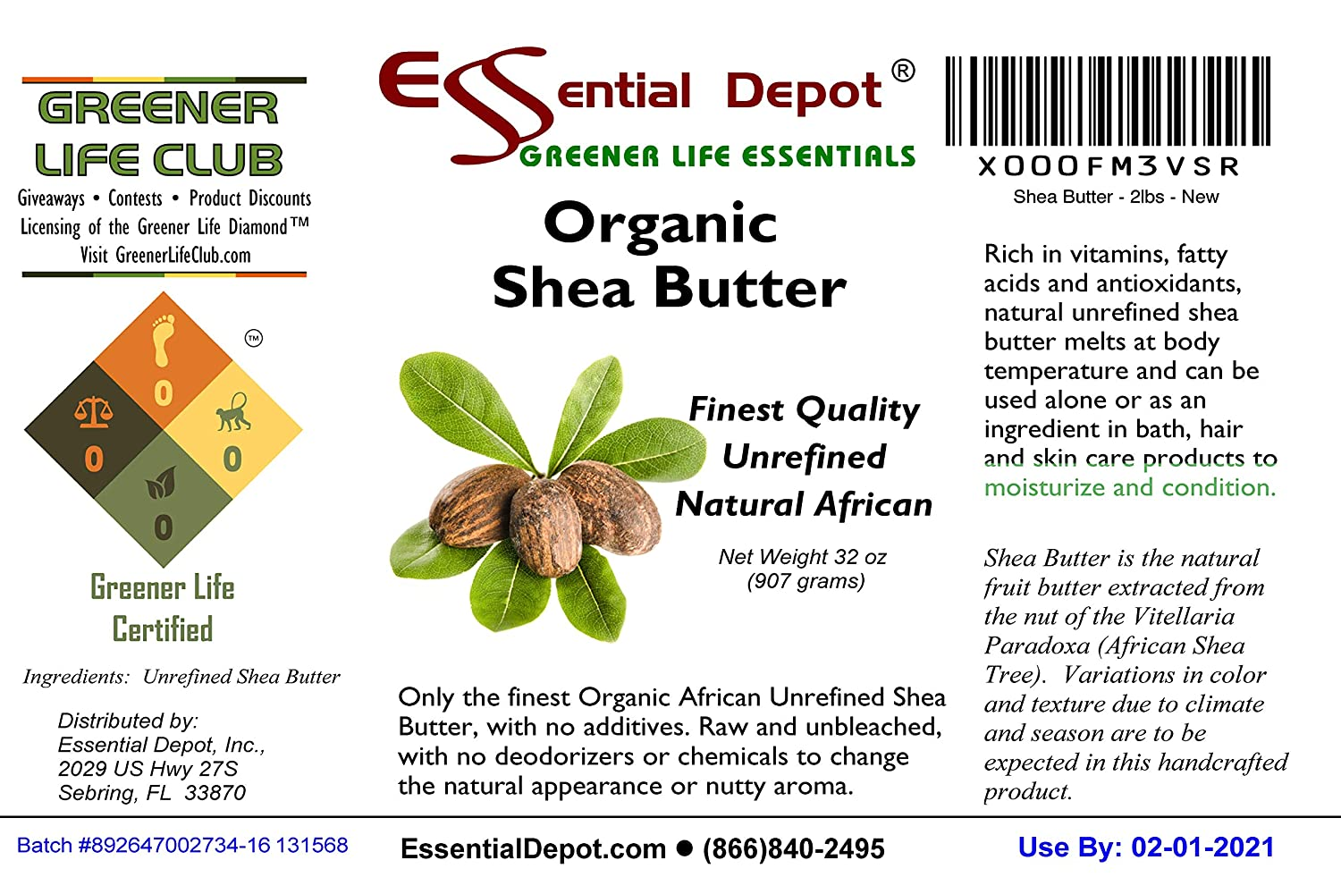 702129d11 Amazon.com : Shea Butter - 32 Oz. - 2 lbs - Organic - Premium Unrefined -  In resealable HDPE Jar : Body Butters : Beauty