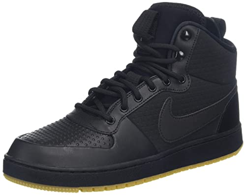 f63f010d48a5 Nike Men s EBERNON MID Winter Black Gum L.Brown Leather Basketball Shoes-7