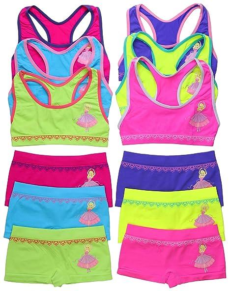 e0c89ba91e3 ToBeInStyle Girls' Pack of 6 Set of Matching Bras & Boyshorts