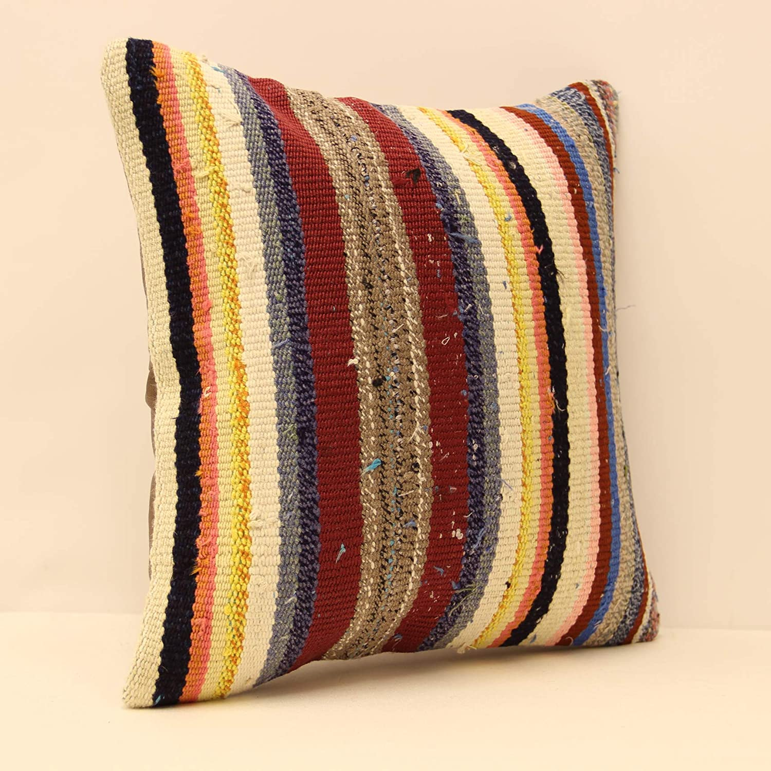 Nomadic Pillow Tribal Pillow size :  16/'x16/' inches Turkish Vintage Natural Kilim Pillow Cover
