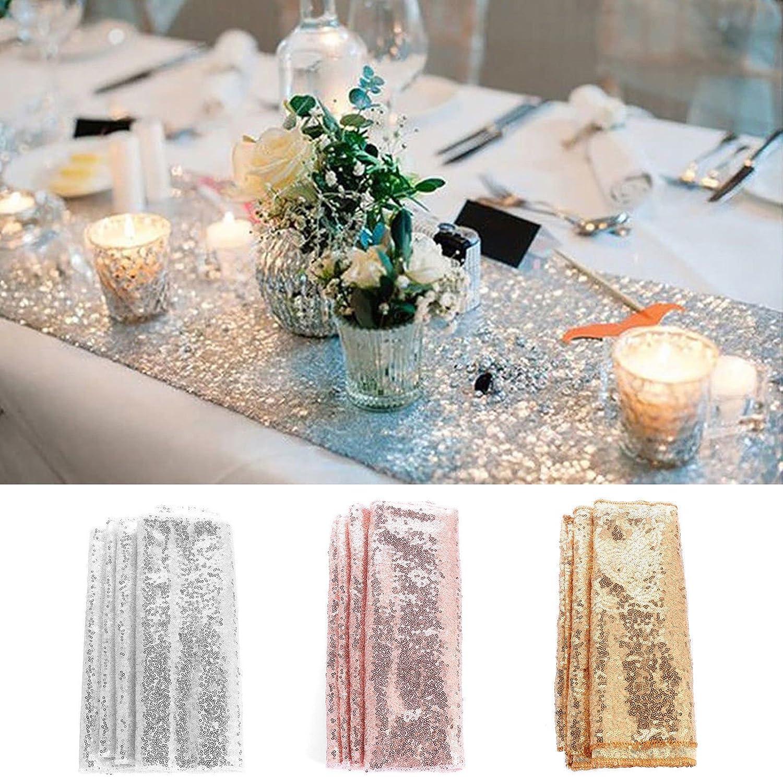 TXCFOO Tischläufer Glitter Pailletten Satin Tischdecke für Party Supplies Hochzeit Geburtstag 30275CM - Gold