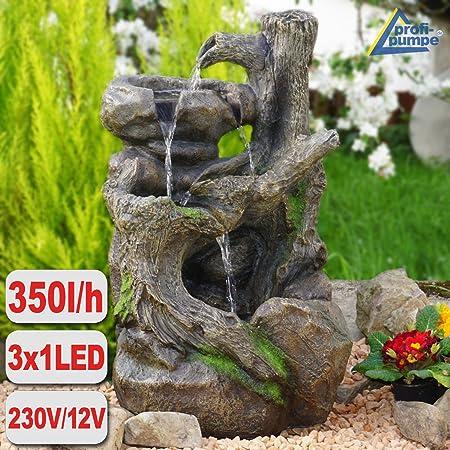 Gartenbrunnen BAUMWURZEL § STEIN-KASKADE mit LED-Licht: Amazon.es: Hogar