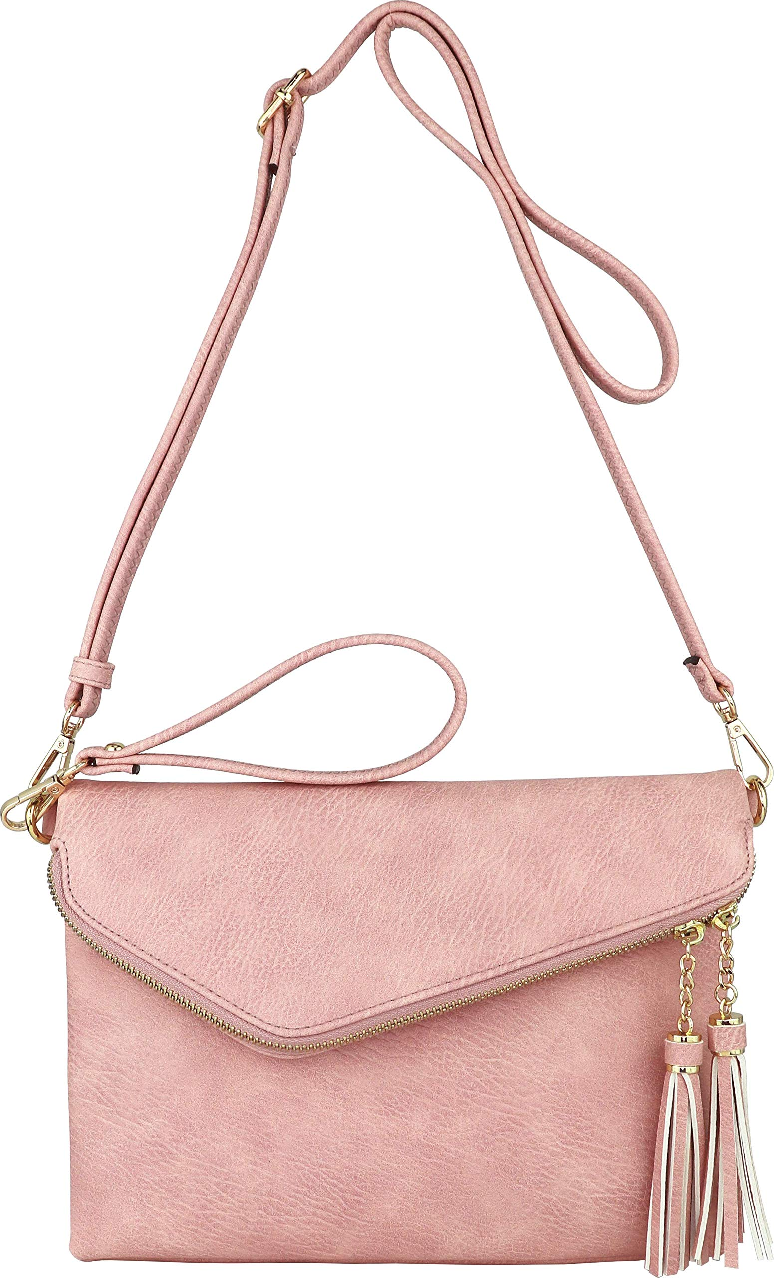 Fold-Over Envelope Wristlet Clutch Crossbody Bag with Tassel Accents (Pink)