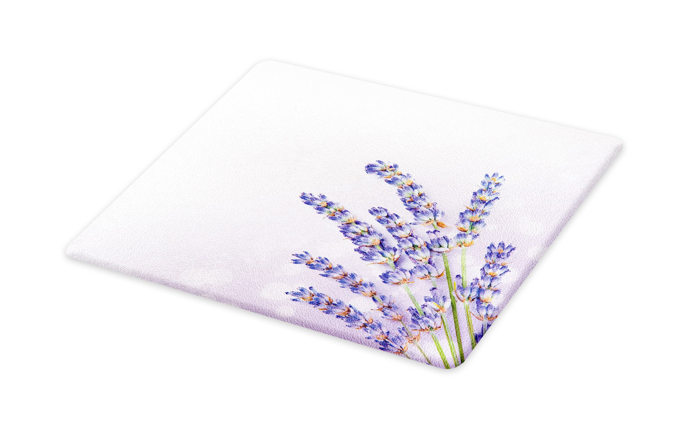 Ambesonne Lavender Cutting Board, Little Posy of Medicinal Herb Fresh Plant of Purple Flower Spa Aromatheraphy Organic, Decorative Tempered Glass Cutting and Serving Board, Small Size, Lavander