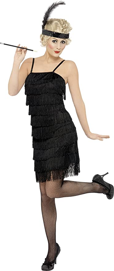 Smiffys Disfraz de Joven con Flecos a la Moda de los años 20, Negro, Vestido y Adorno pa