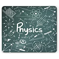 Doodle Mouse Pad,Physics Science Education Theme Mathematical Formula Equation on School Board,Standard Size Rectangle Non-Slip Rubber Mousepad