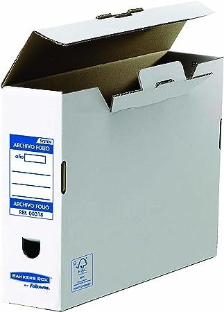 Bankers Box 00318 - Caja de archivo definitivo automático, folio, lomo 100 mm, blanco / azul, 10 unidades: Amazon.es: Oficina y papelería
