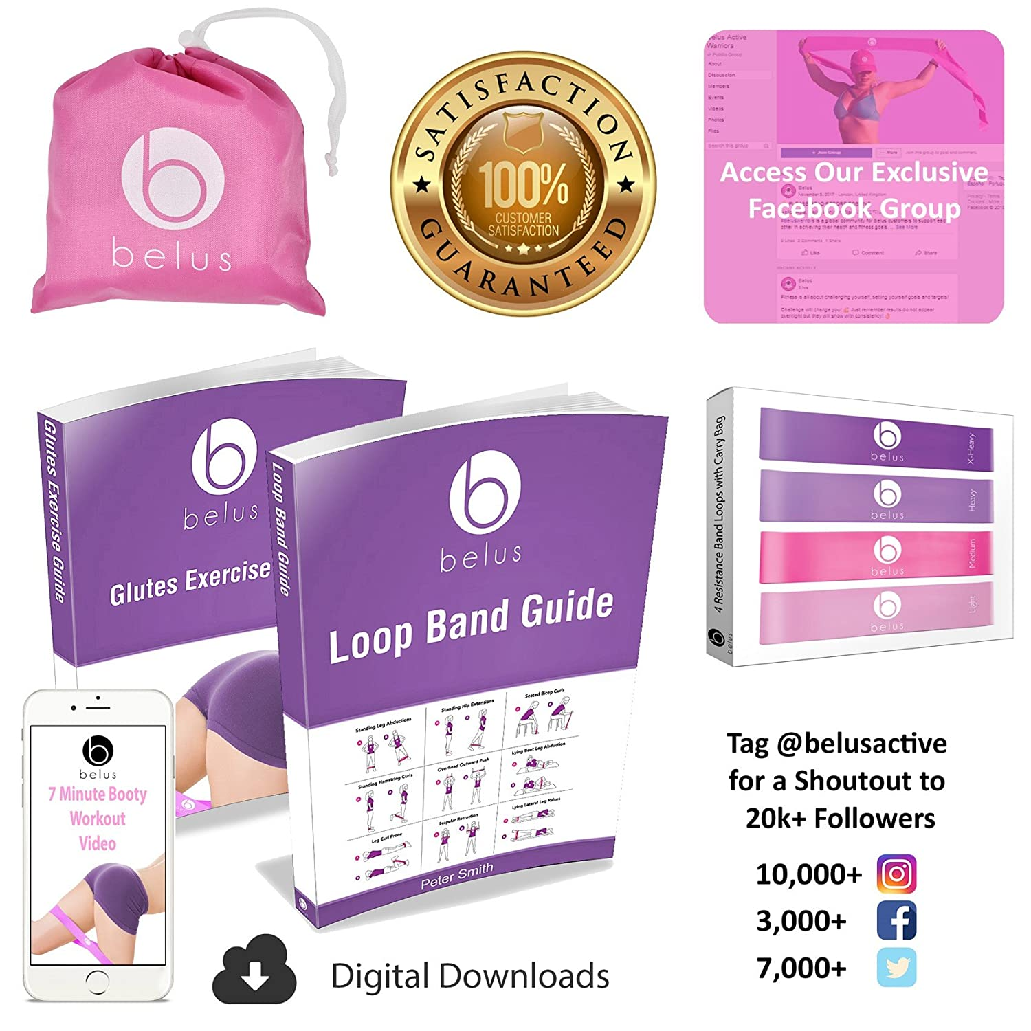 Amazon belus resistance bands with carry bag video download amazon belus resistance bands with carry bag video download and ebook set of four loop bands for exercise rehabilitation and fitness pro pink fandeluxe Gallery