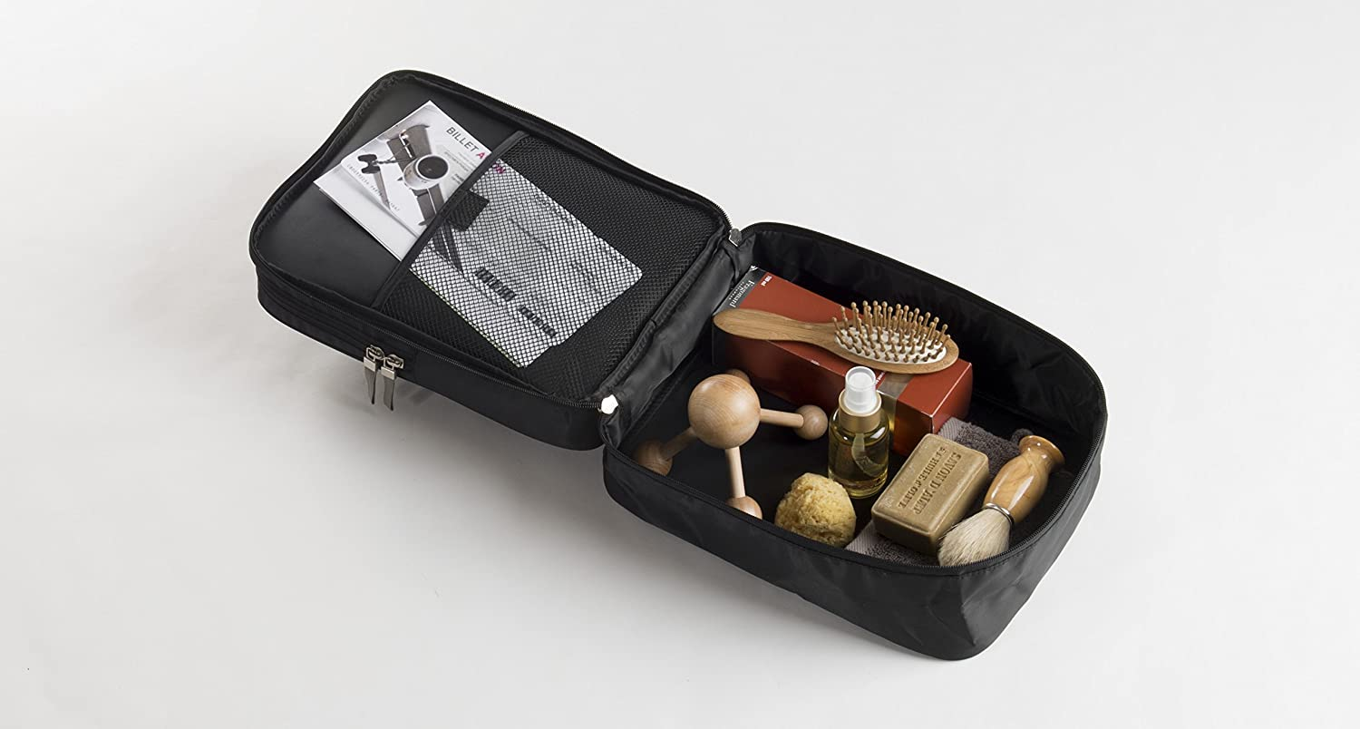 29.0 x 21.5 x 13.0 cm Black Polyester Compactor Travel Vanity//Toiletry//Wash Bag with Zip