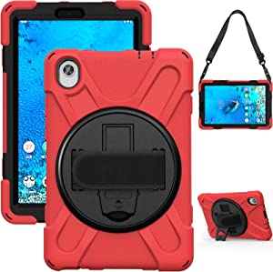 HminSen for Lenovo Tab M8 FHD (2020), TB-8705N Case, 360 Degree Rotatable with Kickstand,Hand Strap and Shoulder Strap Case, Heavy Duty Shockproof Cover for Lenovo Tab M8 FHD (TB-8705F) 8.0 Inch (Red)