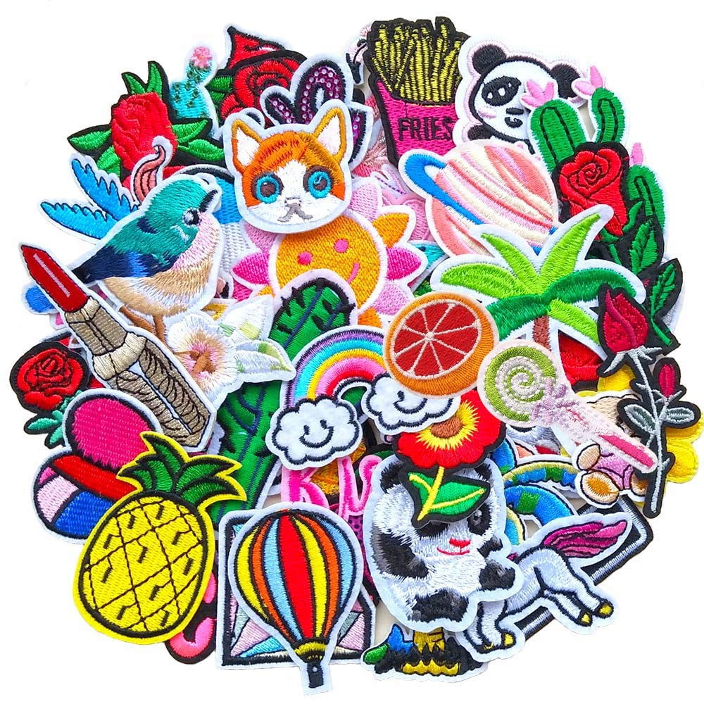 Qingxi Charm 48pcs Random Assorted Styles Sewing on//Iron on Embroidered Patches Clothes Dress Hat Pants Shoes Curtain Sewing Decorating DIY Craft Embarrassment Applique Patches Assorted 48pcs