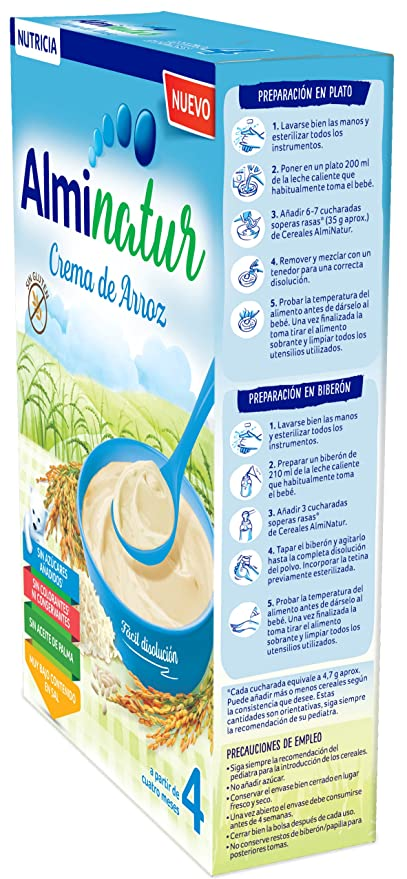 Alminatur Papilla de crema de arroz a partir de los 4 meses 250 g: Amazon.es: Alimentación y bebidas