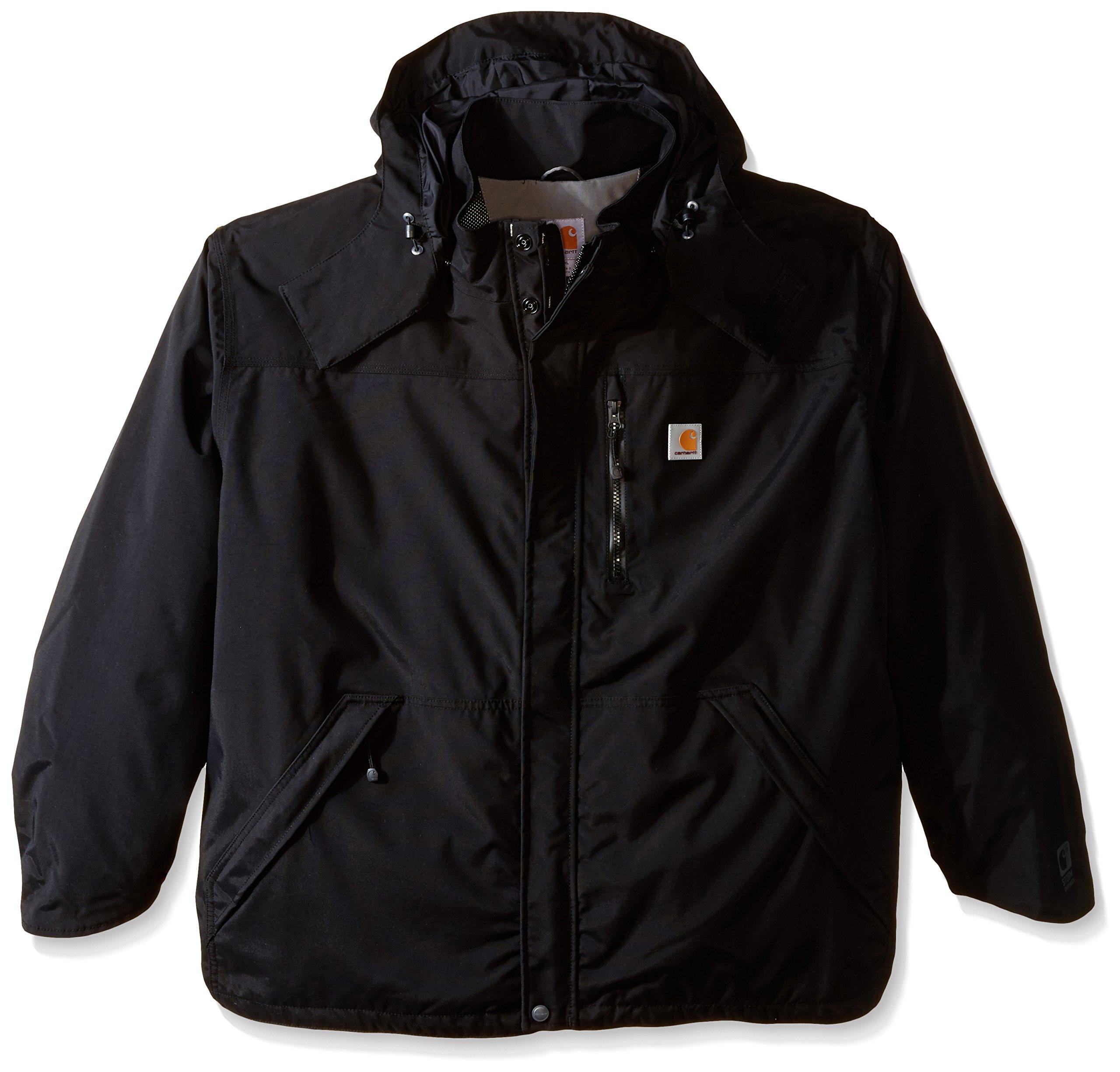 Carhartt Men's Big & Tall Shoreline Jacket Waterproof Breathable Nylon,Black,XXX-Large Tall
