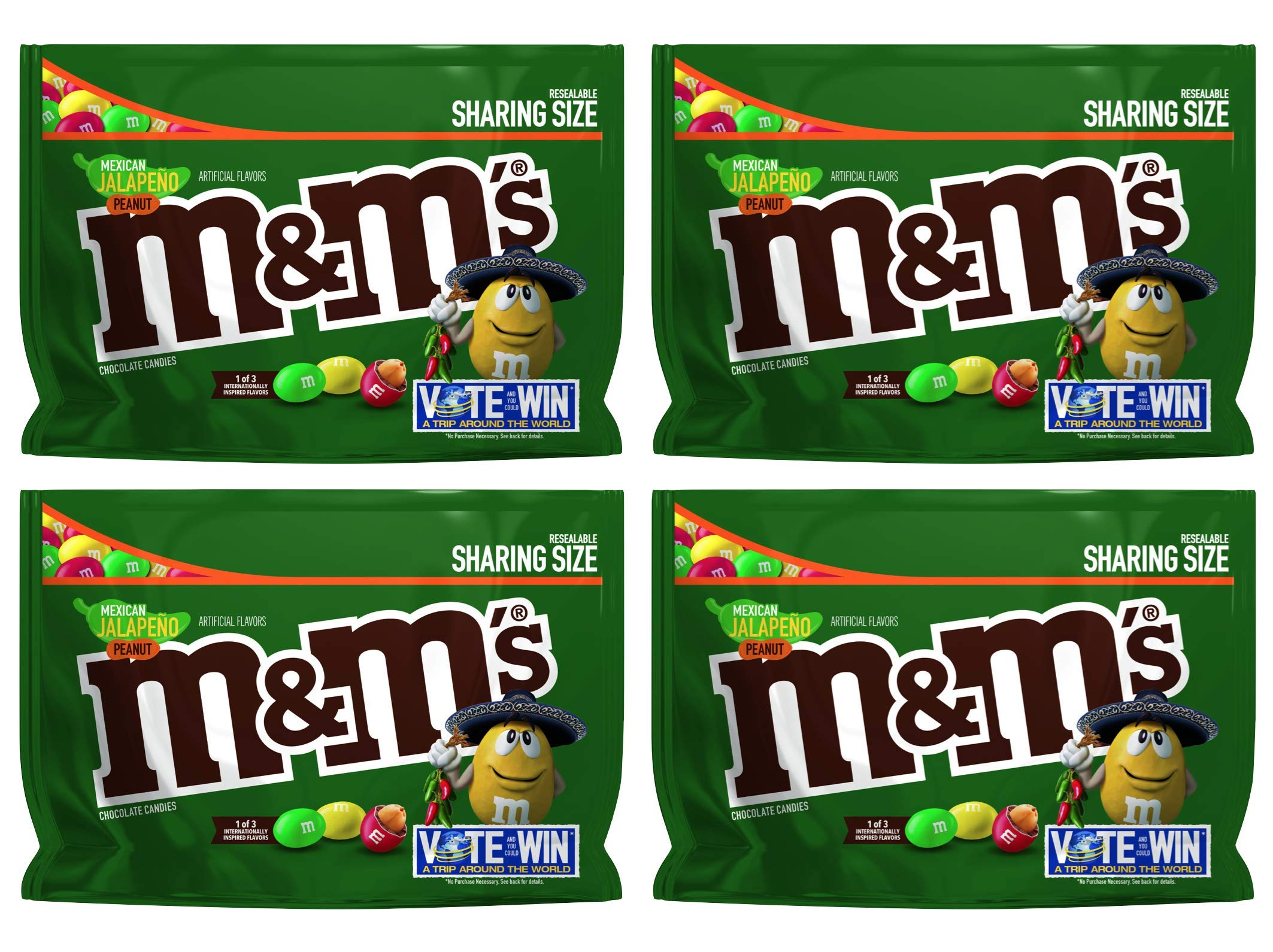 M&M's (Pack of 4) Chocolate Candy Flavor Vote Mexican Jalapeno Peanut Sharing Size, 9.6 Ounce Bag