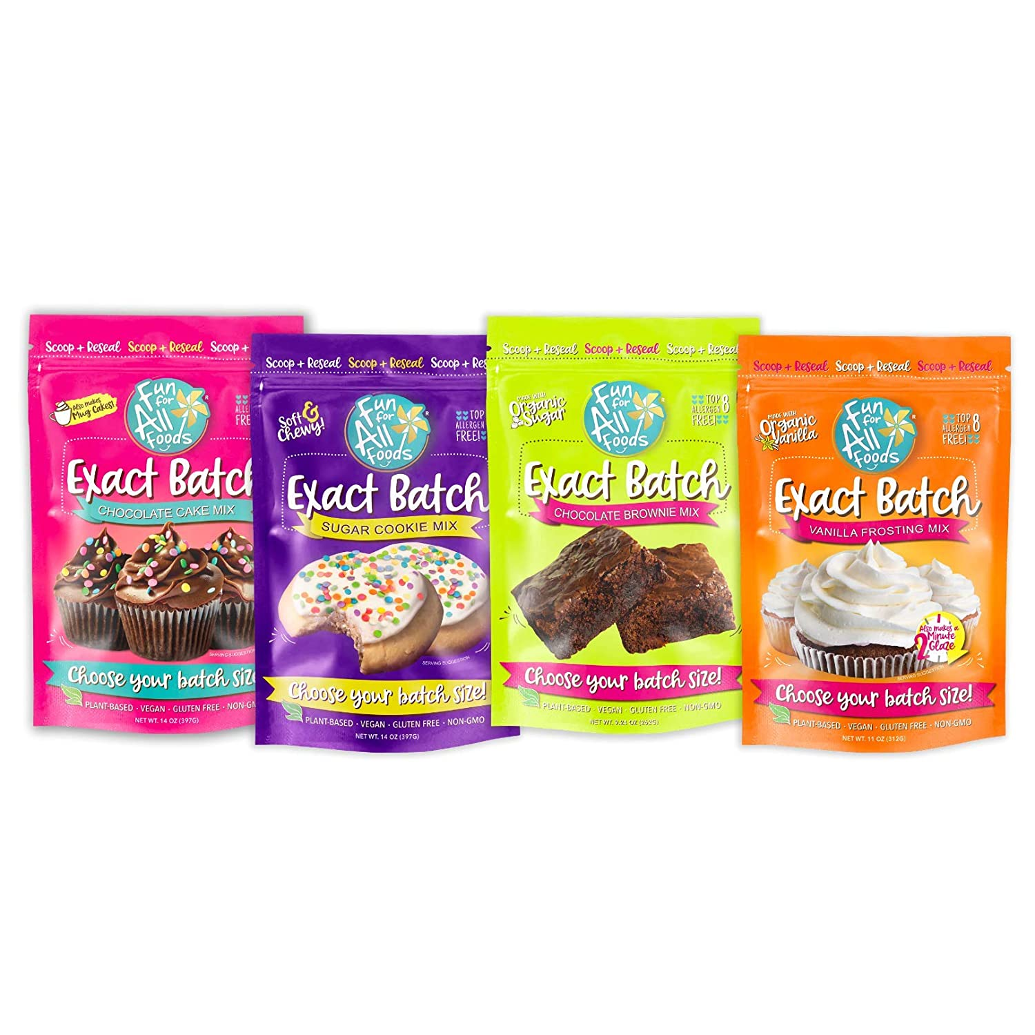 Fun for All Foods Exact Batch Variety Pack: Chocolate Cake, Brownies, Cookies & Frosting