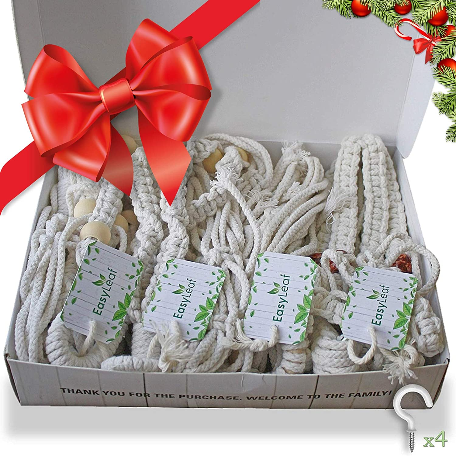 EasyLeaf 4-Pack Macrame Plant Hangers 4 Natural Cotton Hangers, 4 Ceiling Hooks, Gift-Ready Box for Plant Lovers Hanging Planters for Indoor Plants