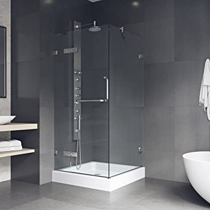 frameless the compressed steel with home alcove n bath shower sliding showers doors b depot door vigo stainless in