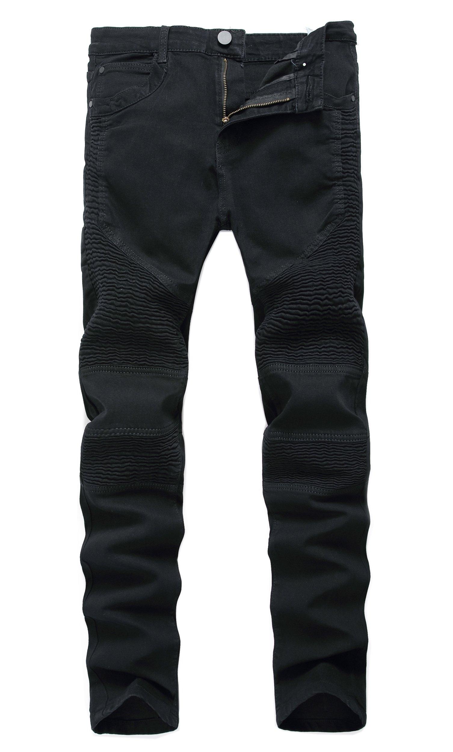 Kihatwin Men's Biker Moto Distressed Destroyed Fashion Skinny Jeans Slim Pants Black 30