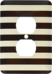 3dRose lsp_56663_6 Stylish Contemporary Stripes Black And White Striped Pattern Aka Breton Stripe 2 Plug Outlet Cover
