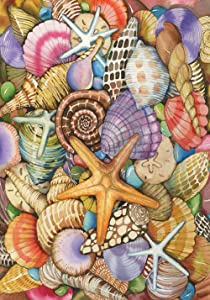Toland Home Garden Shells of the Sea 28 x 40 Inch Decorative Beach Seashell Starfish Collage House Flag