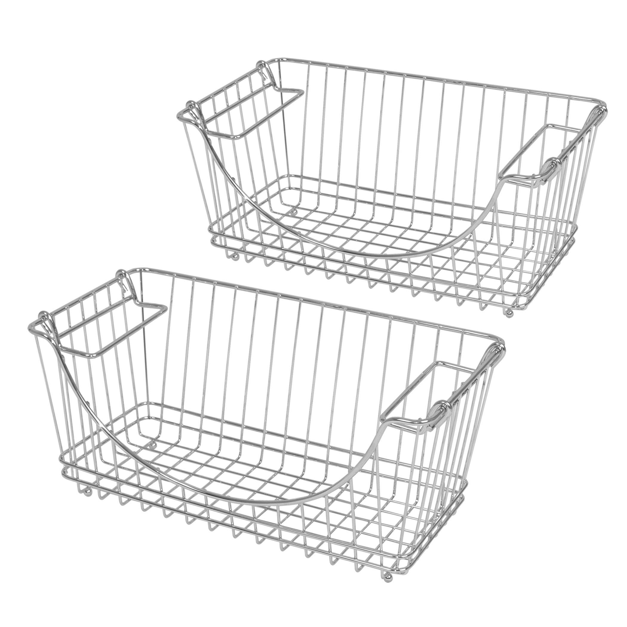 Pro-Mart DAZZ Medium Stacking Baskets Chrome Set of 2 691162723779 ...