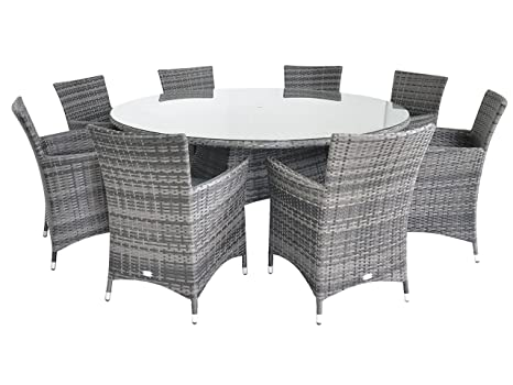 Sedie In Rattan Da Interno : Lusso figari rattan set da pranzo per tavolo rotondo 180 cm da 8 8