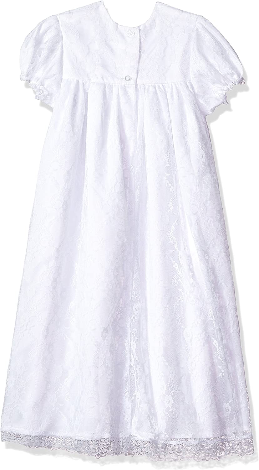 24m The Childrens Hour Baby Girls White Fully Lined Lace Gown /& Bonnett 3m