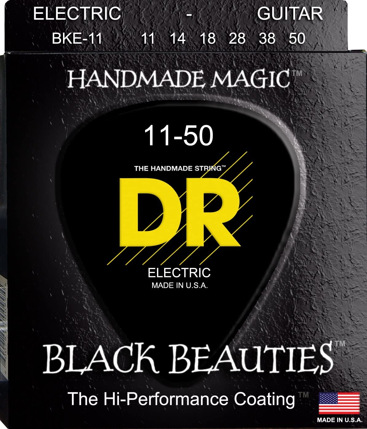 Black Coated... DR Strings Electric Guitar Strings Black Beauties Extra-Life