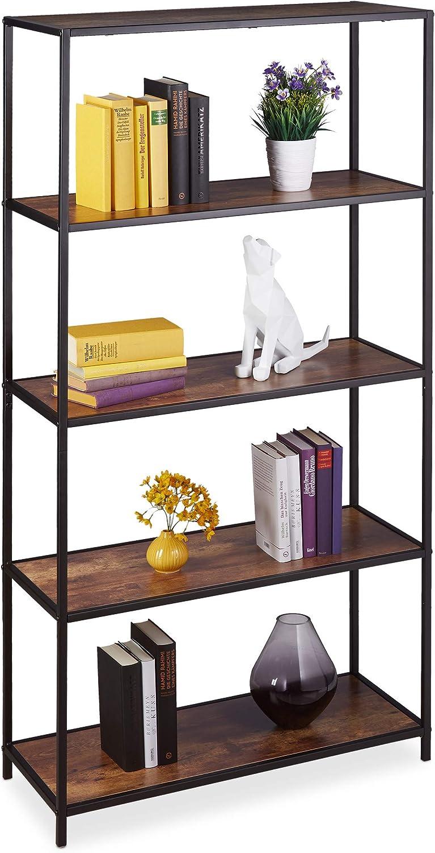 Relaxdays Librería Vintage, Cinco estantes, Mueble de salón & despacho, 150 x 77 x 33 cm, 1 Ud, Marrón & Negro, Hierro, Aglomerado, Marrón/Negro