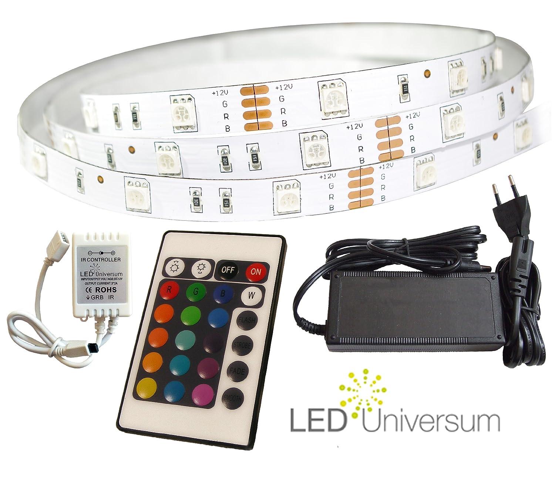 8 Meter RGB inkl. LED Streifen Set (30 LED/m, IP20) inkl. RGB Controller, 24 Tasten Fernbedienung und 6 A Netzteil 535e27