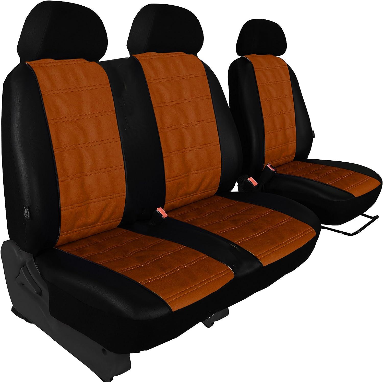 Modellspezifischer Sitzbezug Fahrersitz 2er Beifahrersitzbank Für T5 Multivan In Kunstleder Quergesteppt Braun Auto