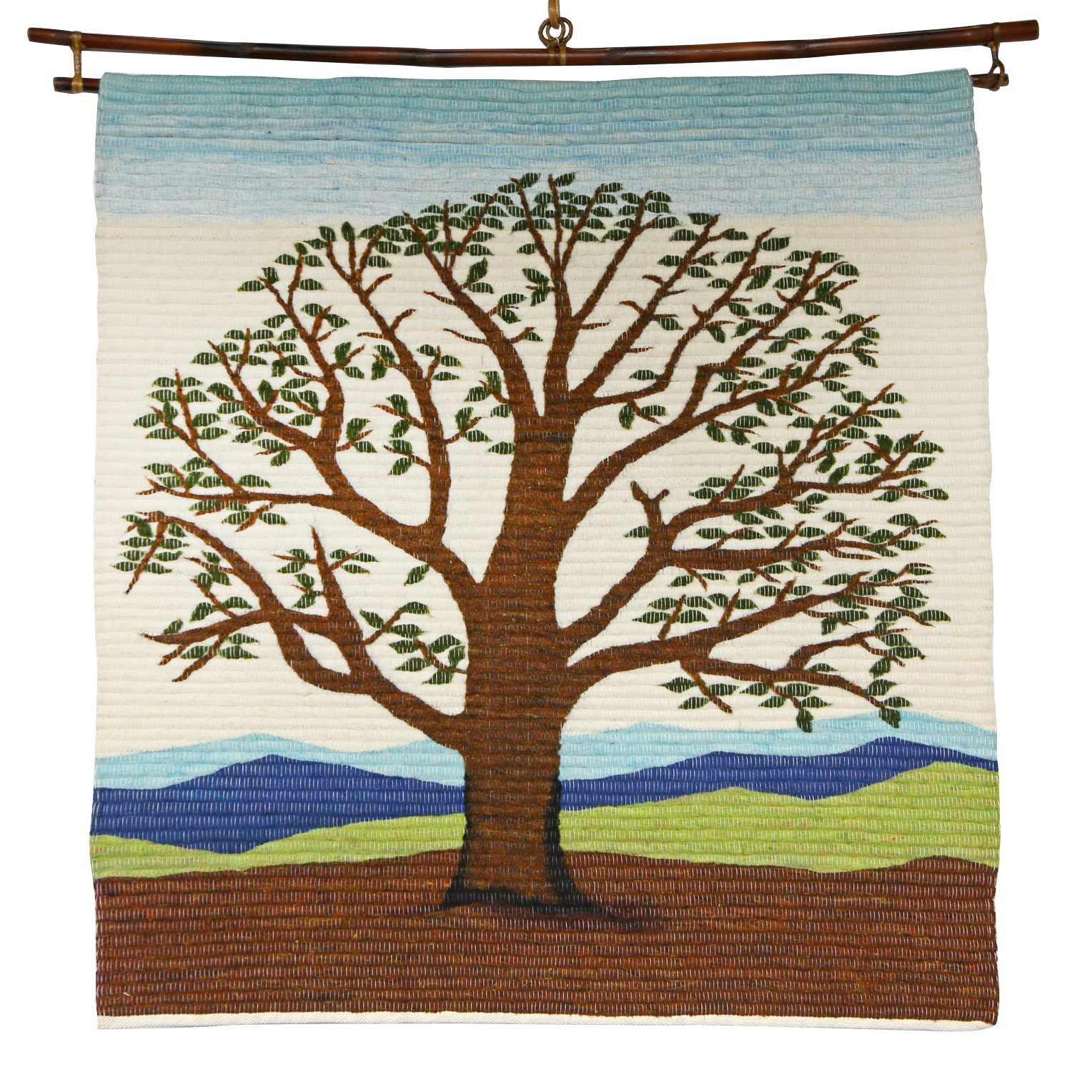 Wool Blend Wall Hanging 36''x33'' 'Branching Life Wall Hanging' by Ten Thousand Villages