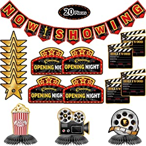 20 Pieces Hollywood Party Decoration Kit Includes Now Showing Banner, 3 Pieces Honeycomb Table Centerpieces, 4 Pieces Movie Night Cutouts and 12 Pieces Hollywood Cutouts for Movie Night Party