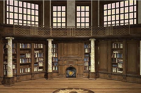 Antique Elite Cockloft Photo Backdrop Vintage Bookshelf With Books Pillar Wood Balcony Wooden Floor Castle Bookcase