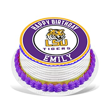 Lsu Tigers Edible Cake Topper Personalized Birthday 10 Round Circle