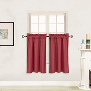 """Better Home Style 100% Blackout 2 Panels Tiers Window Treatment CurtainInsulated Drapes Short Panels for Kitchen Bathroom or Any Small Window M3036 (Burgundy, 2 Panels 28"""" W X 36"""" L Each)"""