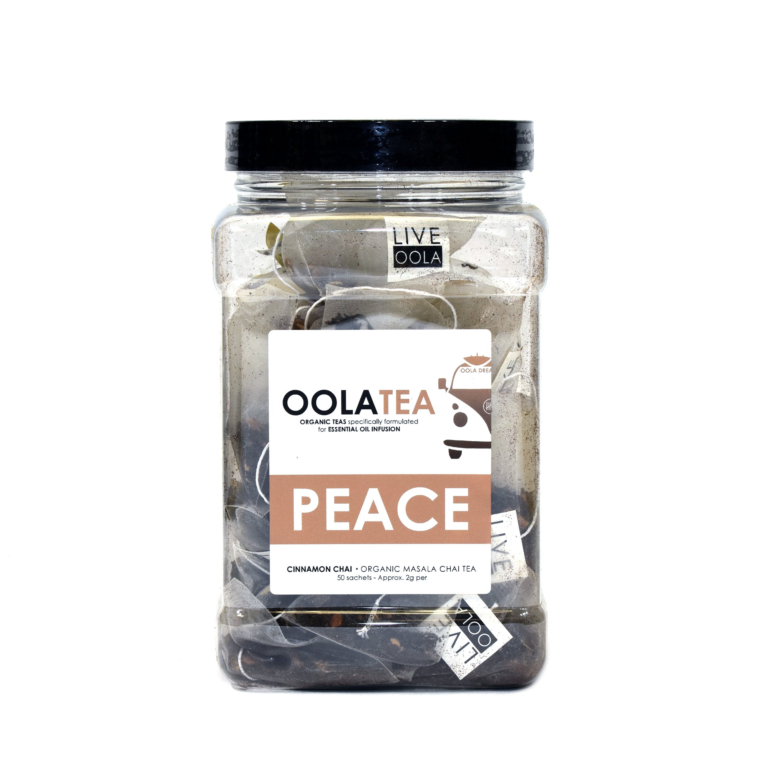 Oola Tea - PEACE 50 Count | Certified Organic Masala Chai | Reduces Bloating | Strengthens Immunity