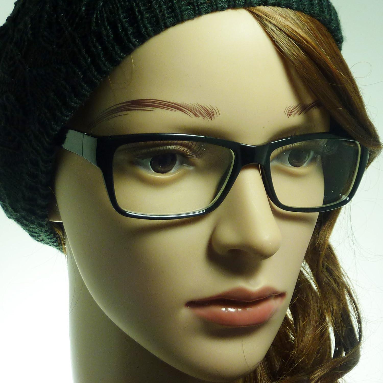 NERD Eyewear Stripe Rectangular Men Women Frame Clear Lens Eye Glasses/BLACK