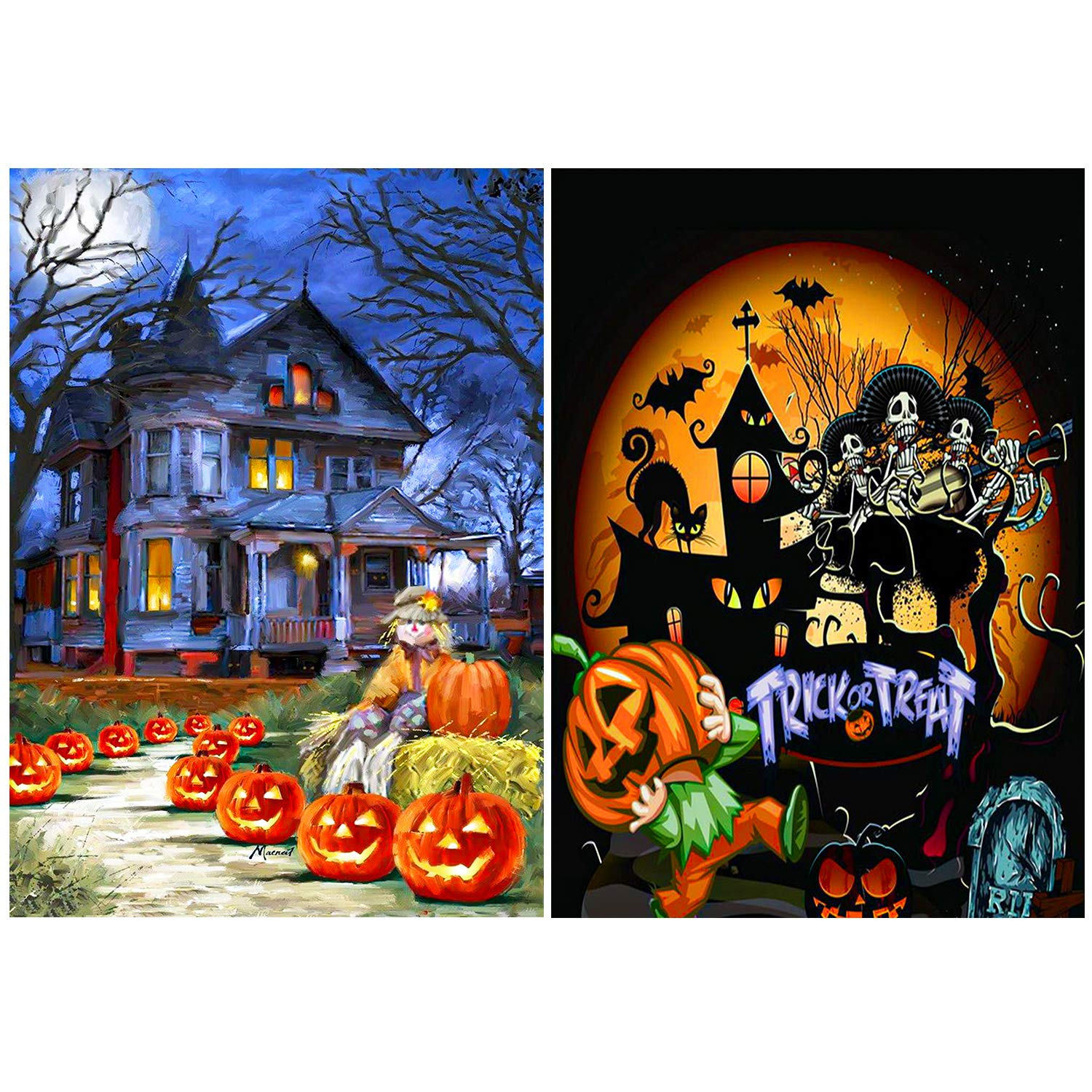 Aneco 2 Pack 5D DIY Diamond Painting Kits Trick or Treat Pumpkin House Full Drill Embroidery Paintings for Halloween Party Decorations by Aneco