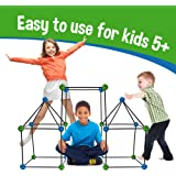 Matchaccino Construction Fort Building Kit - 77 Pieces with Storage Bag - Blue and Green