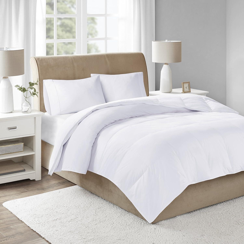 Sleep Philosophy 300 Thread Count Cotton 3M Scotchgard Stain Release White Duck Down Filled Comforter, King,