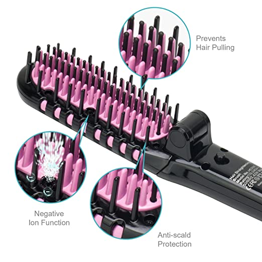 Apalus Mini Ionen Glättbürste para pelo liso,cerámica Haarglätter cepillo con Anionen generator para sedoso pelo resplandor.Antistatische Haarbürste contra ...