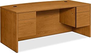 HON Bow Top Double Pedestal Desk, 72 by 36 by 29-1/2-Inch, Harvest